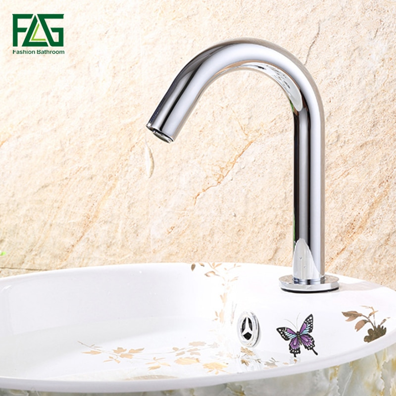 FLG Basin Faucet Chrome Faucet Ceramic Plate Spool Water Saving Battery Power Automatic infrared sensor faucet