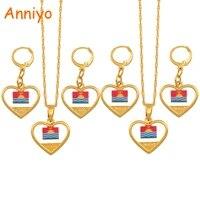 anniyo heart kiribati boboto flag jewelry set necklace earrings for women girls kids gold color ethnic patriotic gifts 135806