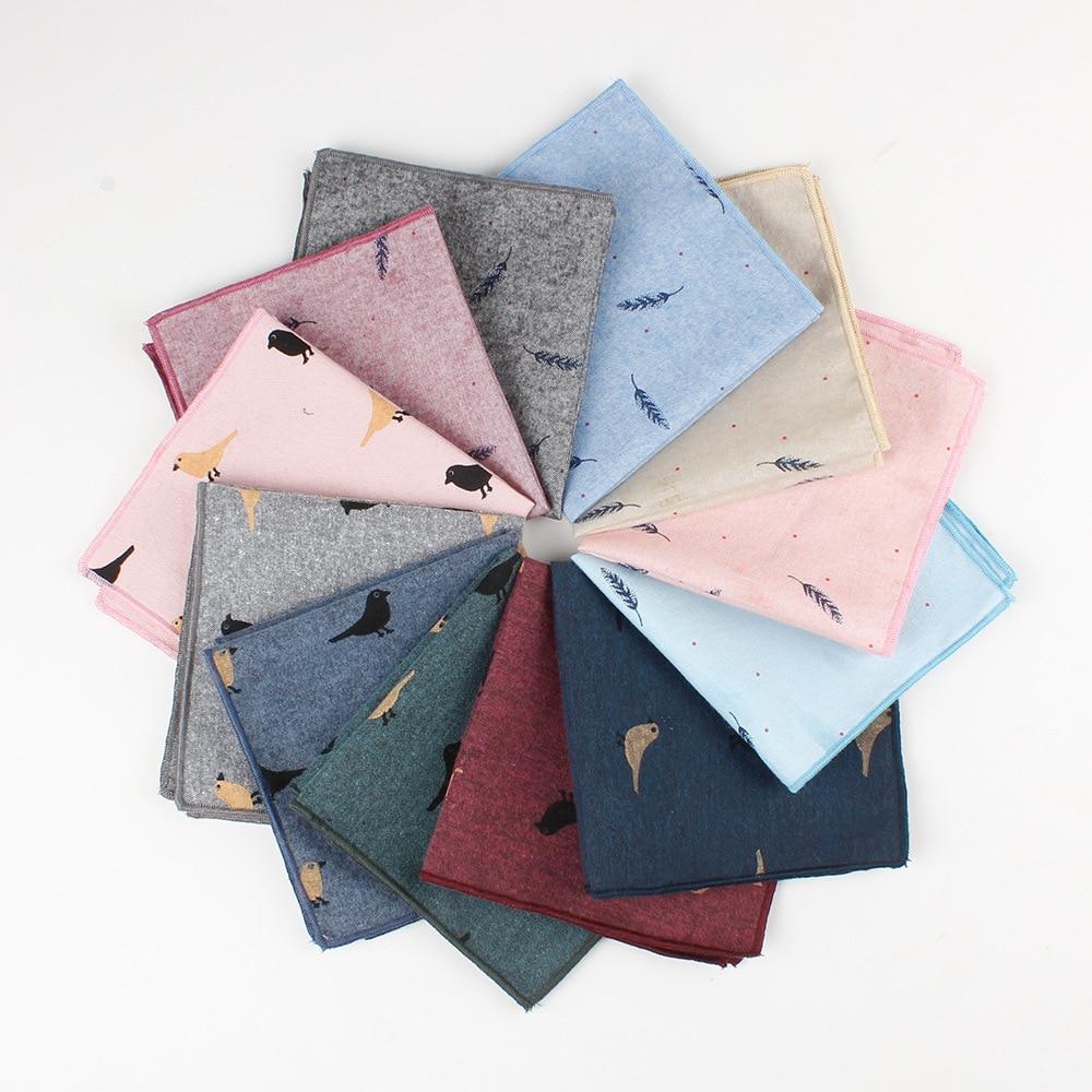 Casual Cotton Men's Handkerchief Birds Feather Printed 12 Colors Soft Pocket Square Ties Business Su
