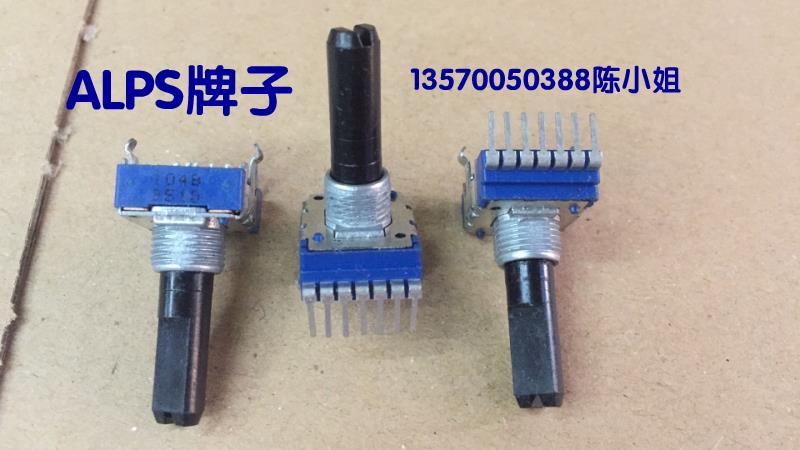 2 unids/lote marca Alps potenciómetro tipo RK14, longitud del eje doble B100K, medida de rosca del paquete de 23MM