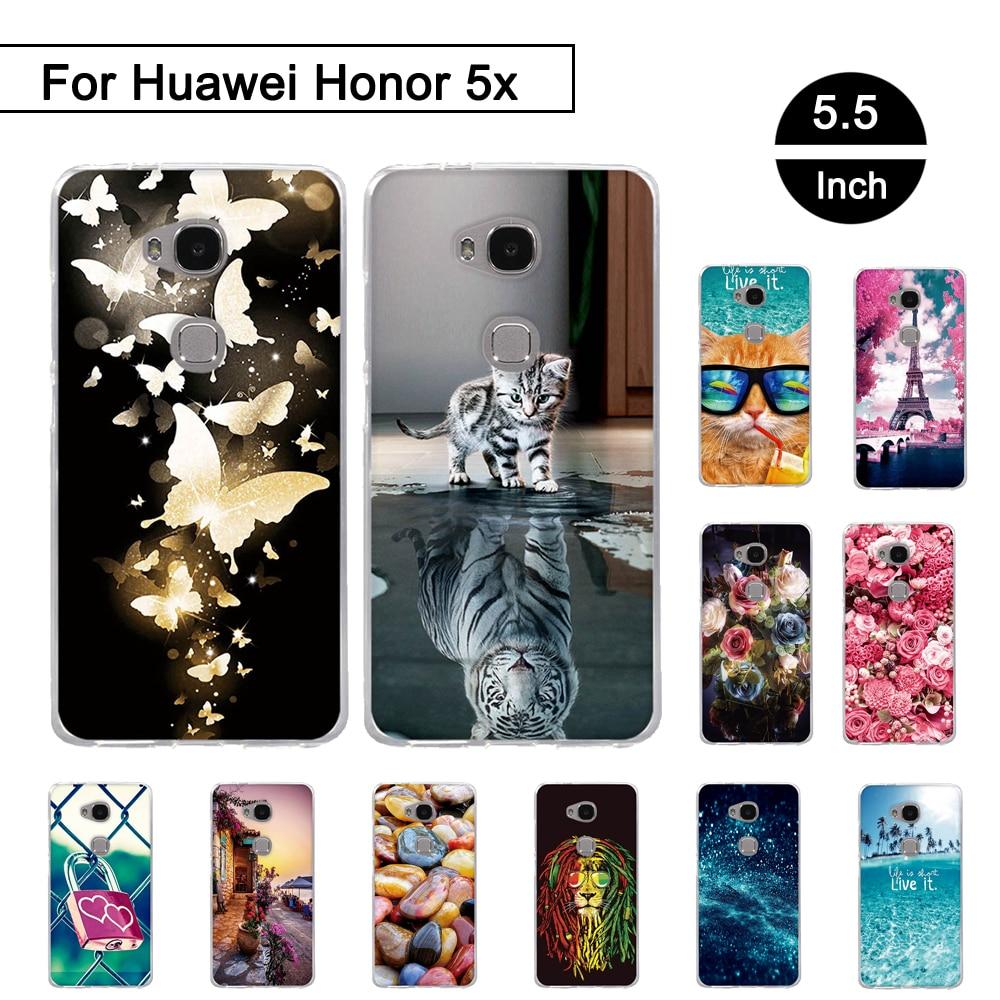 Funda trasera para Huawei Honor 5X X5 GR5 kiw-l21 5,5 pulgadas, funda de teléfono TPU para Huawei Honor 5 X 5x, Fundas protectoras de silicona para KIW-L21