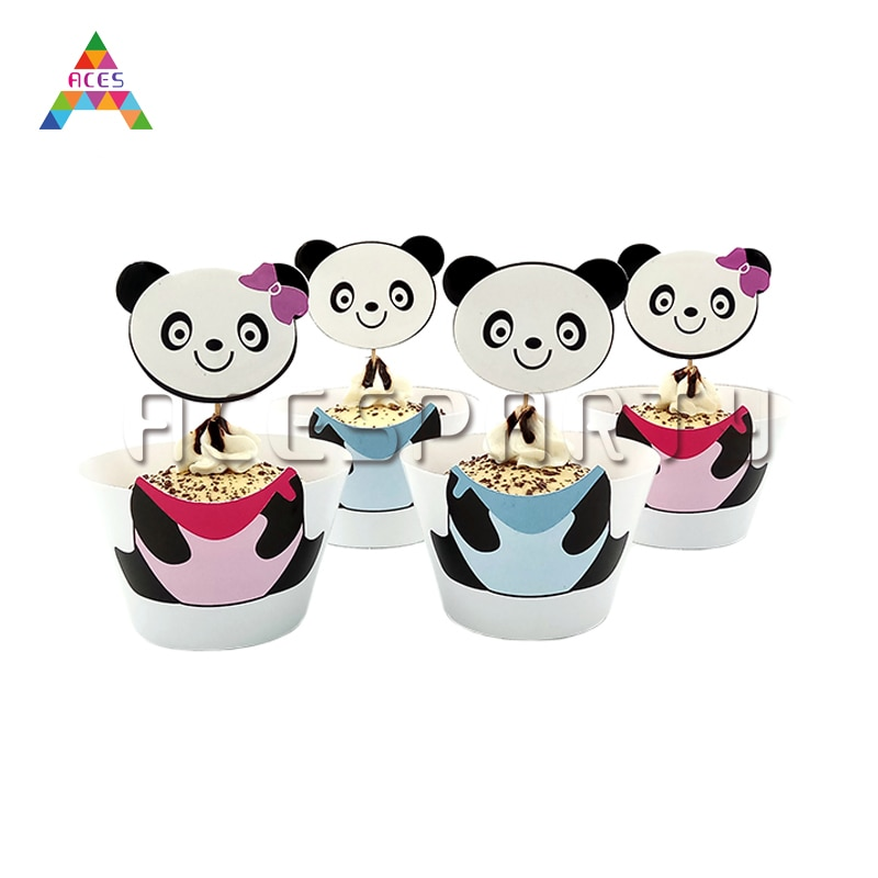 12 шт./компл., милые кексы с изображением гигантской панды по краю детского стола на день рождения