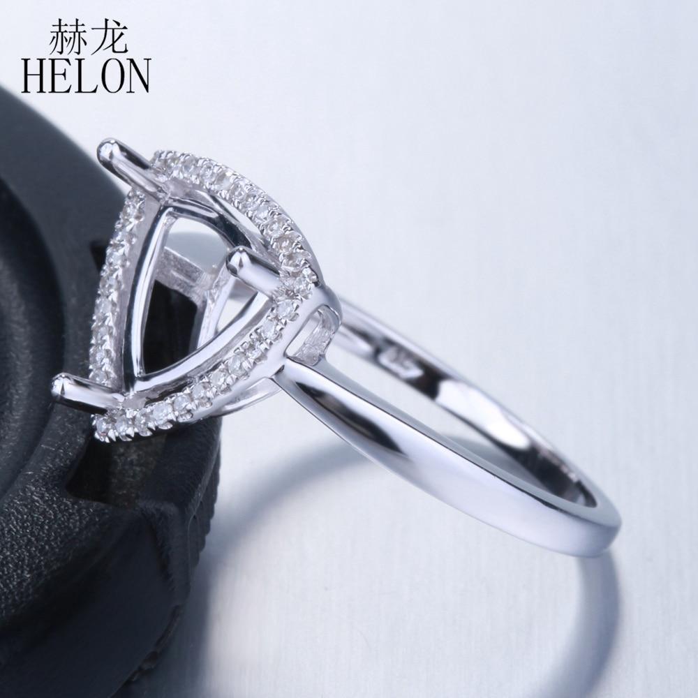 HELON Trillion Cut 8x8mm Solid 10K White Gold Natural Diamonds Engagement Wedding Semi Mount Ring Setting Women Fine Jewelry
