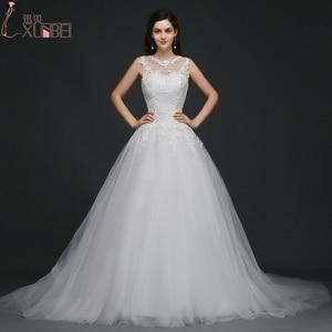 Sheer O Neck A Line Wedding Dresses 2017 Lace Appliques Sleeveless Wedding Gowns Floor Length Chapel Train Robe De Mariage