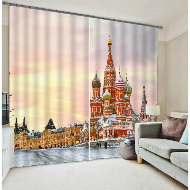 Hermoso edificio de impresión Digital Blackout 3D cortinas para sala de estar ropa de cama Oficina cortinas de algodón para sala