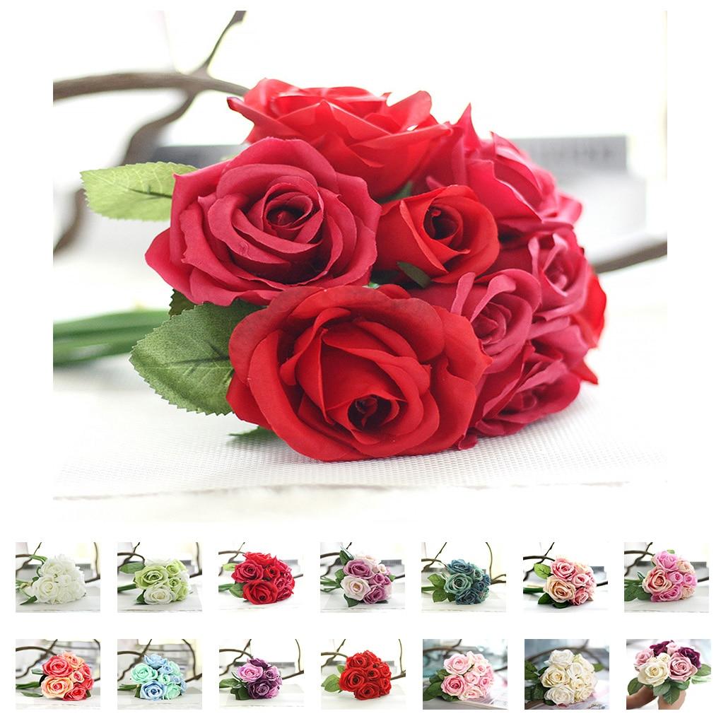 Ramo de rosas artificiales, flores artificiales, decoración para el hogar, boda, Rosa artificial, tacto real, planta de boda artificial