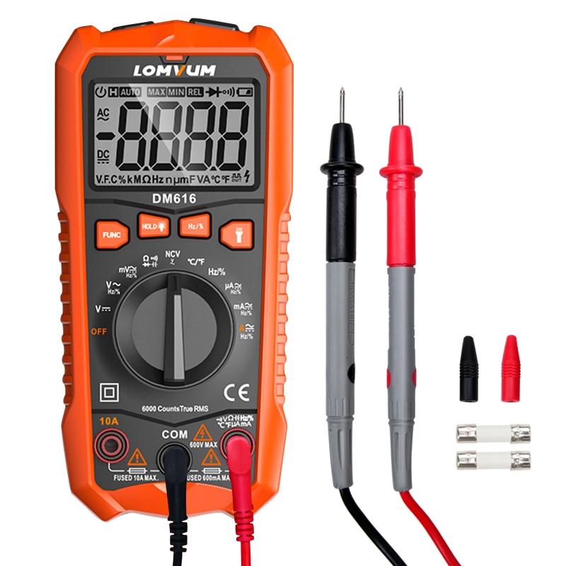 LOMVUM NCV Digital Multimeter 6000 counts Auto Ranging AC/DC voltage Meter Flash Back light Large Screen Ohm Tester Polimetro