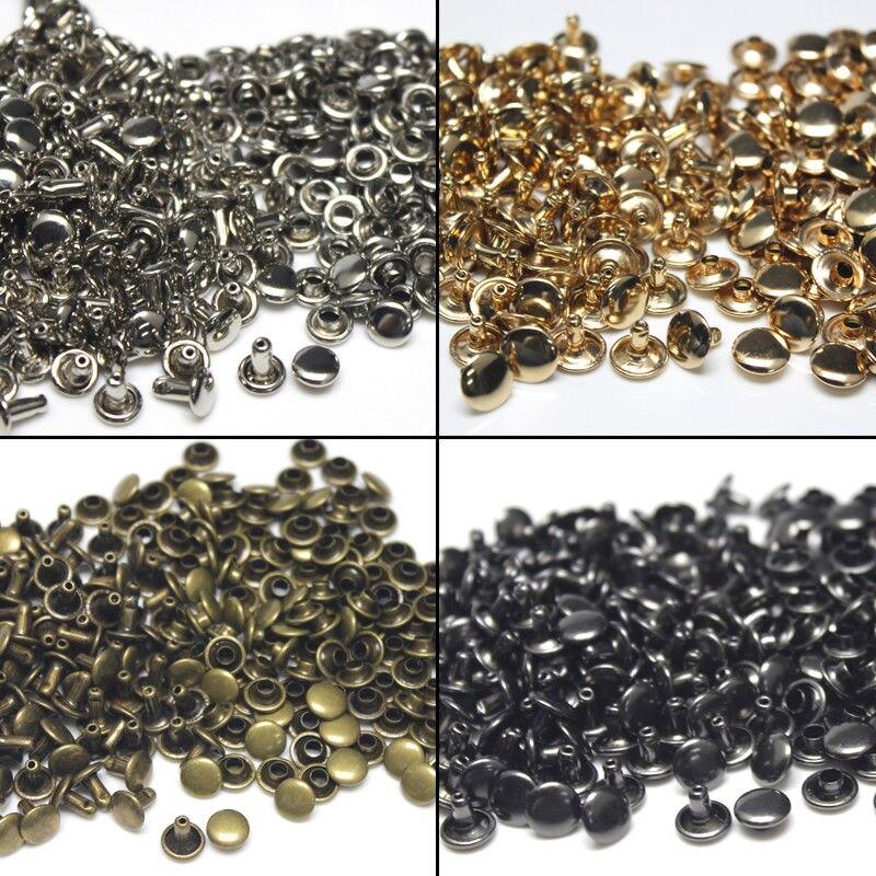 100 комплектов 6/8 мм металлическая двойная крышка заклепки круглые заклепки для кожаного ремесла Сумка ремень одежда обувь для одежды Декор ошейник для домашних животных