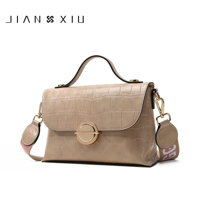 JIANXIU-حقائب يد من جلد البولي يوريثان للنساء ، ماركات مشهورة ، حقيبة كتف ، حقيبة كتف عريضة مع نسيج تمساح