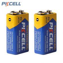 2pcs/lot Pkcell Super Heavy Duty 9V 6F22 Dry Zinc Carbon Battery for Digital Camera Remote Control Toy Smoke Alarm