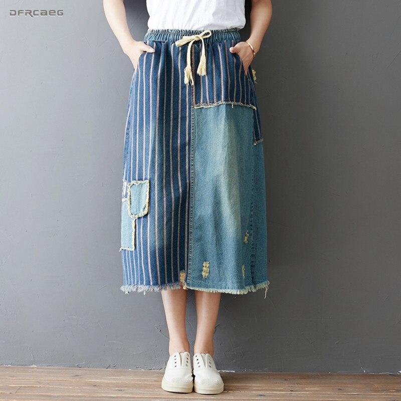 Vintage Mujer Faldas de verano de 2019 moda Streetwear cintura elástica Saia Longa jeans casuales femeninos falda