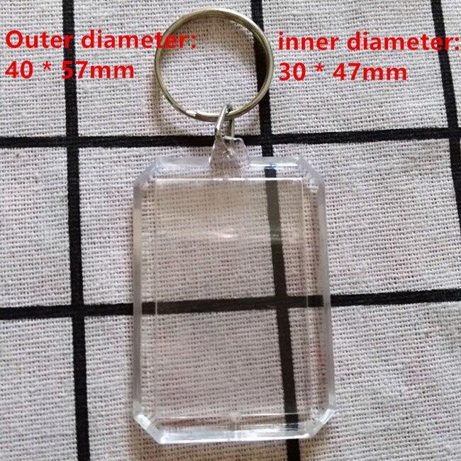 50 Uds en forma de octógono de acrílico DIY imagen en blanco llaveros de Marco en blanco transparente insertar foto llaveros