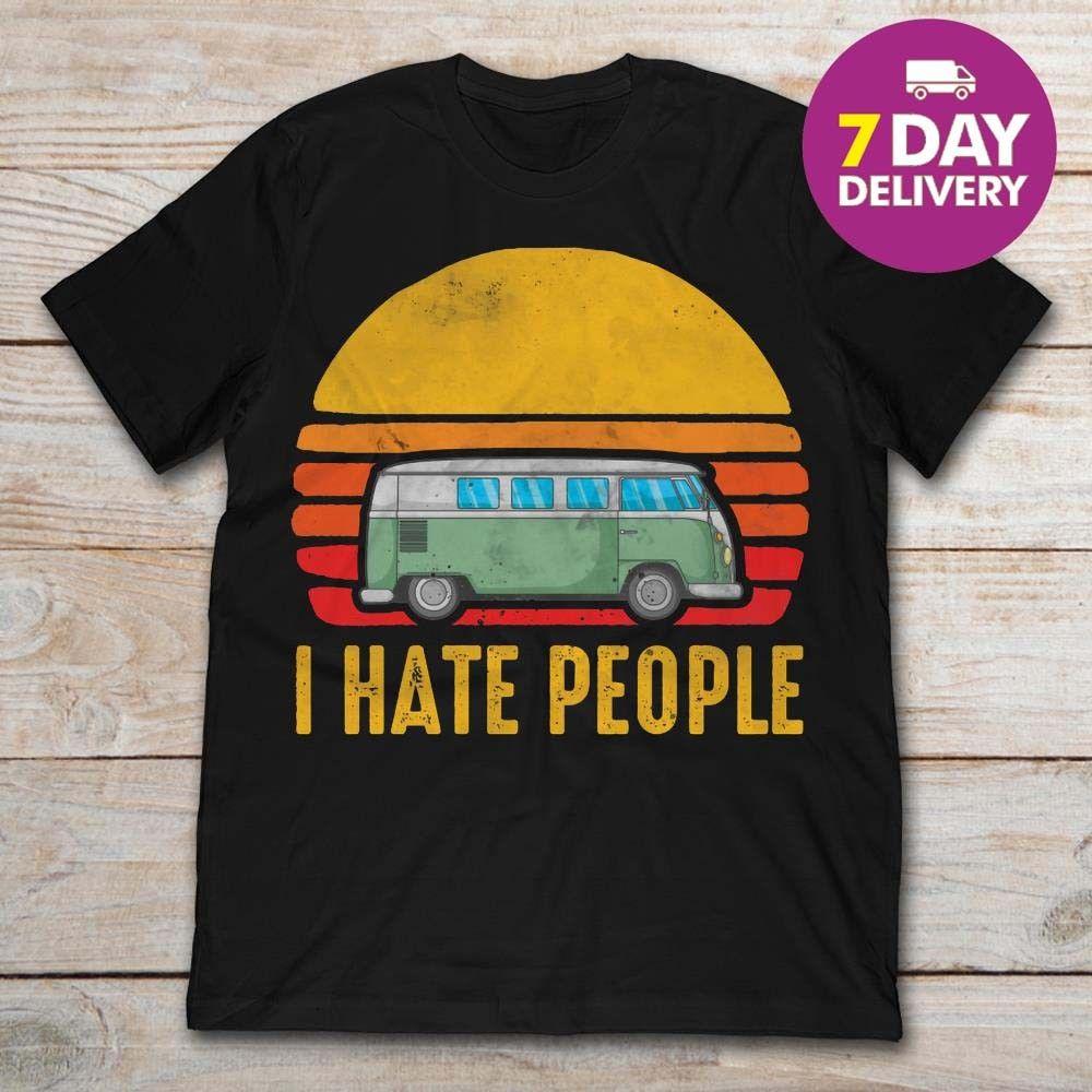 Vintage Bus Camping I Hate People Men T Shirt Black Cotton Full Size   Cartoon t shirt men Unisex New Fashion tshirt