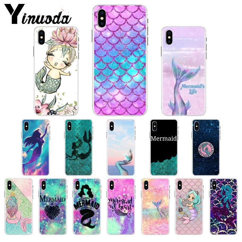 Yinuoda, funda de silicona suave TPU con escala de cola de sirena para iPhone X XS MAX 6 6S 7 7plus 8 8Plus 5 5S XR