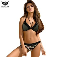 NAKIAEOI 2017 Sexy Croix Brésilien Bikinis Femmes Maillots De Bain Maillot de Bain Push Up Bikini Set Halter Top Plage Maillots de Bain Maillot De Bain