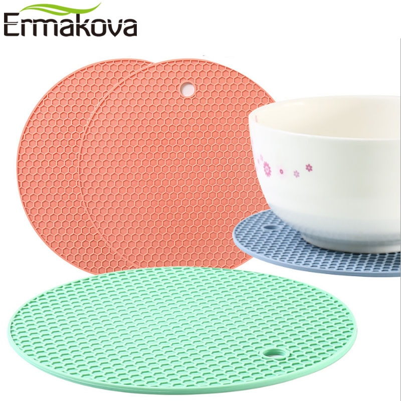 Estera de silicona antideslizante ERMAKOVA, estera de copa resistente al calor, posavasos, posavasos, soporte para tetera caliente, estera de aislamiento de silicona