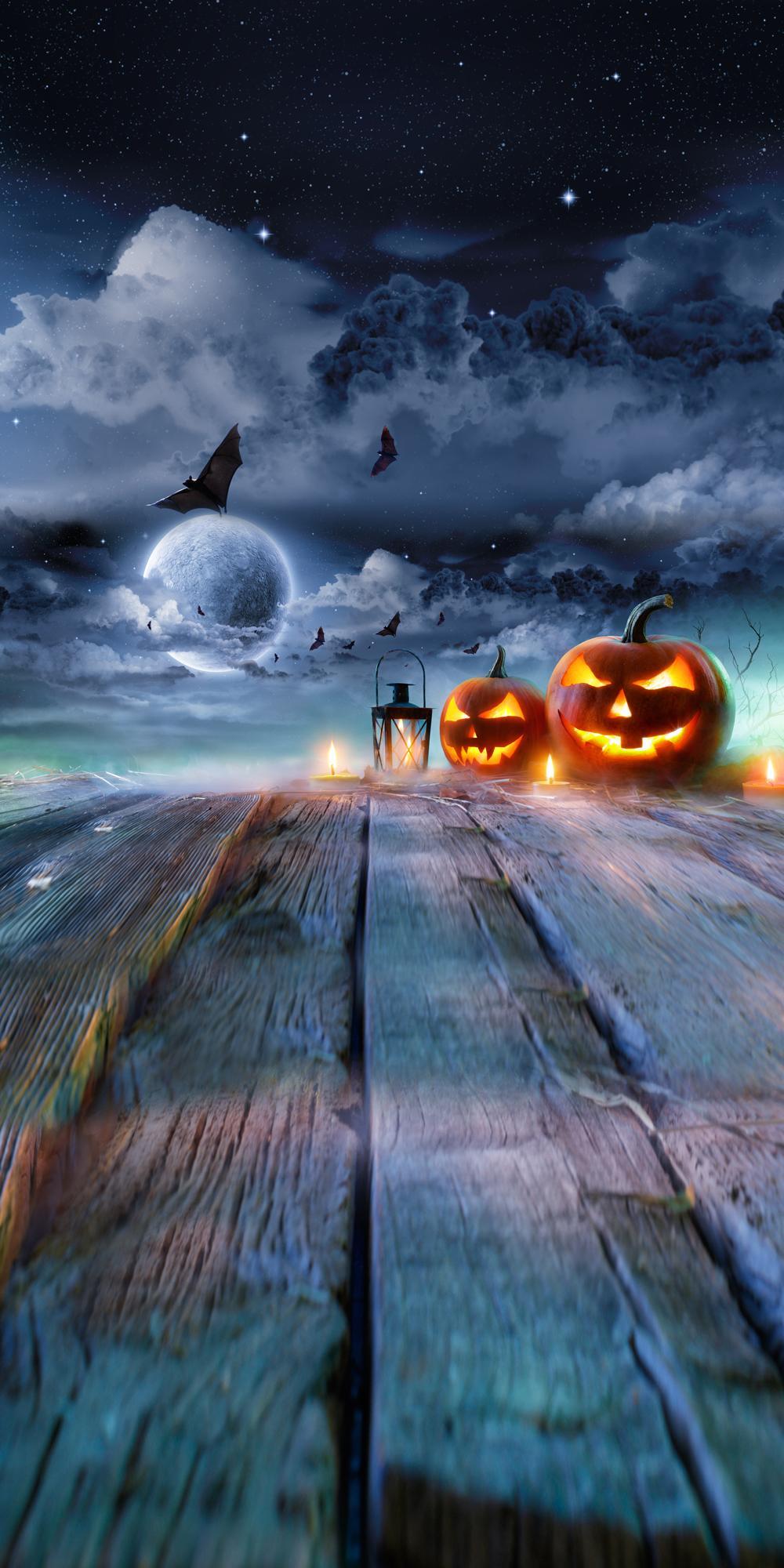 halloween photography Background Pumpkin Lamps moon bats wood floor photographic Backdrop Photo Prop halloween backdrop XT-6341