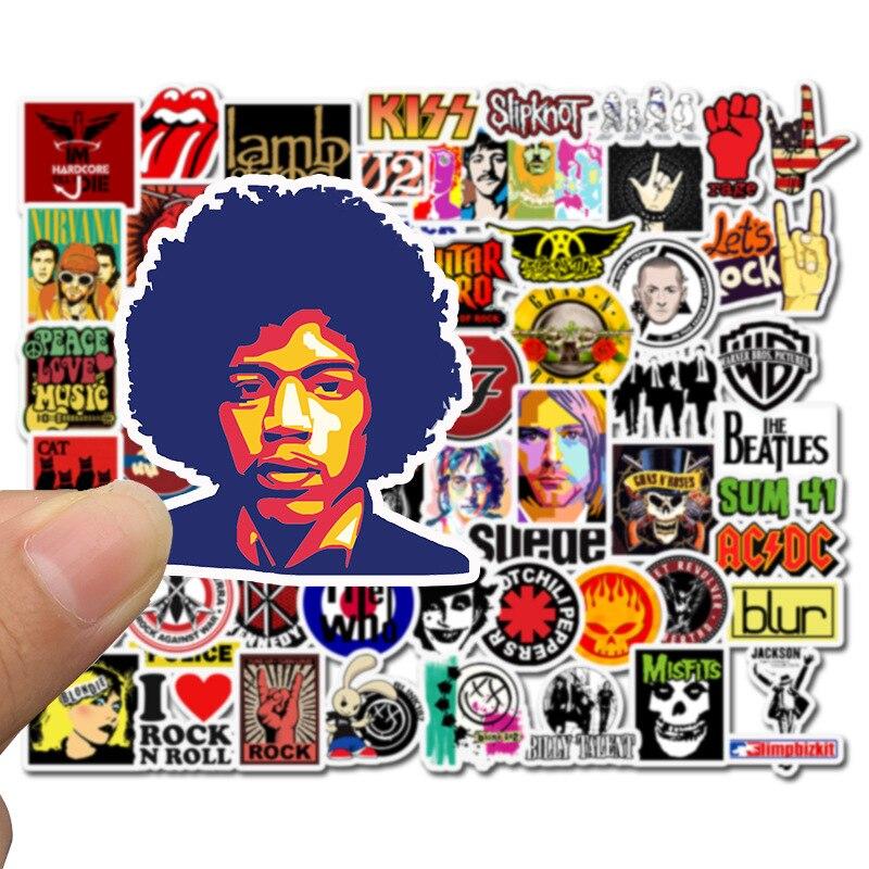 50 Uds pegatinas Hip Hop Rock & Roll Band personaje de dibujos animados pegatina de graffiti Juguetes Para Skateboard Laptop bicicleta pegatinas impermeables