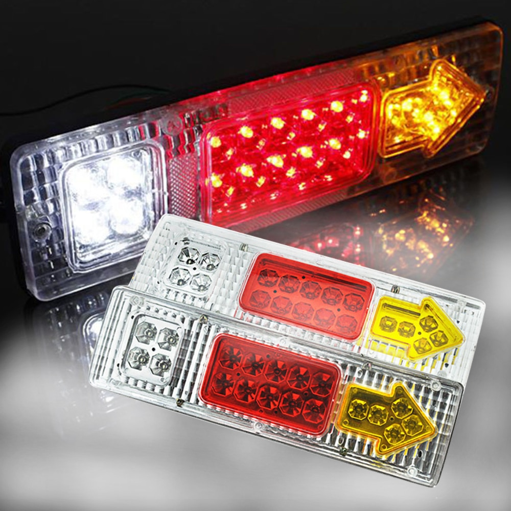 Luces traseras LED de 12V para camión, 19LED con flecha y 5 funciones, luces externas superbrillantes para remolque, camión, caravana 1 par