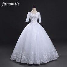 Fansmile Vintage lacé balle manches robes de mariée 2020 grande taille robes de mariée Robe de Mariage Vestido de Noiva FSM-028F