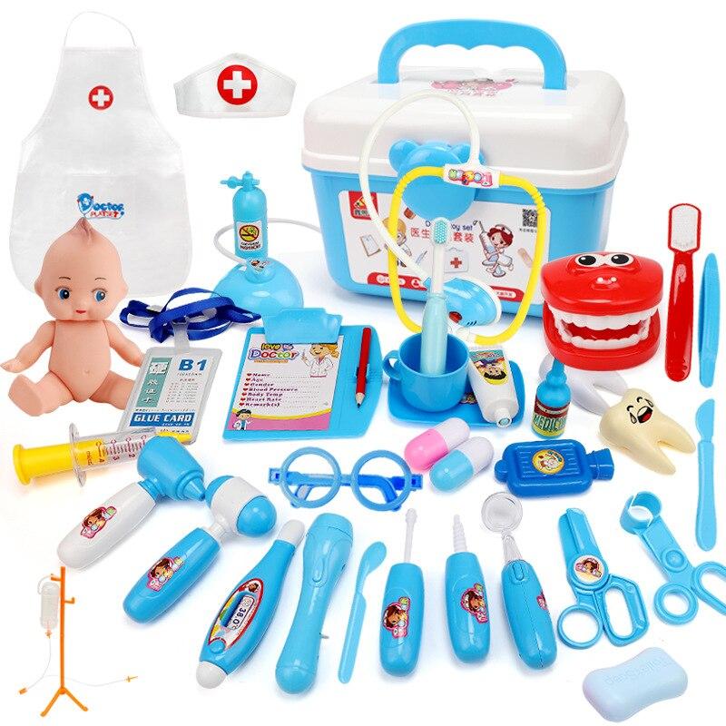 Som e luz crianças doutor brinquedos conjunto enfermeira simulação medicina caixa com bonecas fingir jogar clássico brinquedos presente