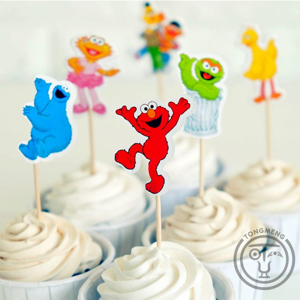 24 stücke Cartoon Sesame Street Elmo Bert Big Bird candy bar kuchendeckel pick frucht picks baby dusche kinder geburtstagsparty supplly