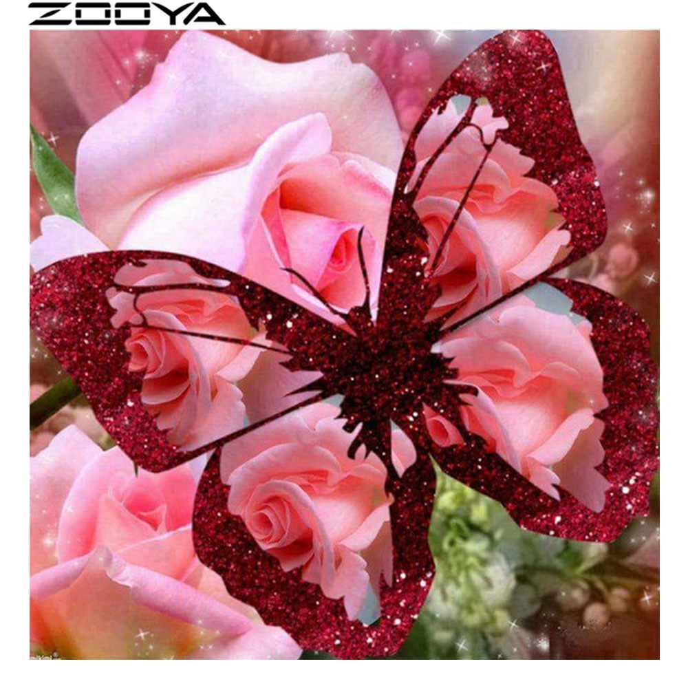 Kits de pintura de punto de cruz de diamante redondo, pegatina de pared, bordado de diamante, regalos, mariposa roja, fotos DIY de diamantes de imitación R1760