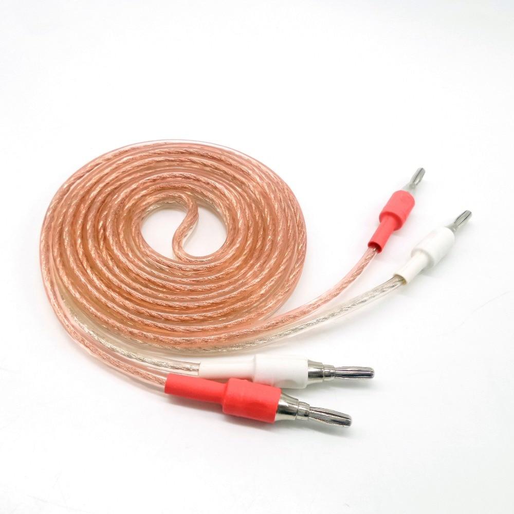 2pcs oxygen-free copper 99.99%  audio Amplifier Wire Banana plugs Line 1.5m 2m 3m 5m Stereo Speaker Cable Audio / video cable