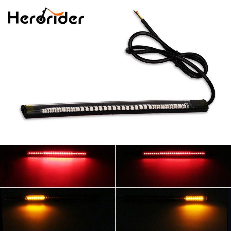 Piscamento vermelho/âmbar flexível luzes de freio da motocicleta turno signal led luz tira da placa de licença moto luz cauda parar luz tira