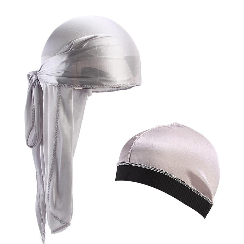 New Unisex Silky Durag Long Tail  Bandana Turban Hat silky Dome Cap Turban wide band stretchy wig cap