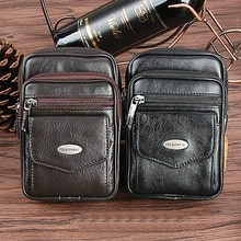 High Quality Genuine Leather Cowhide Men Crossbody Messenger Bags Design Fanny Belt Hip Waist Pack Male Small Sling Shoulder Bag