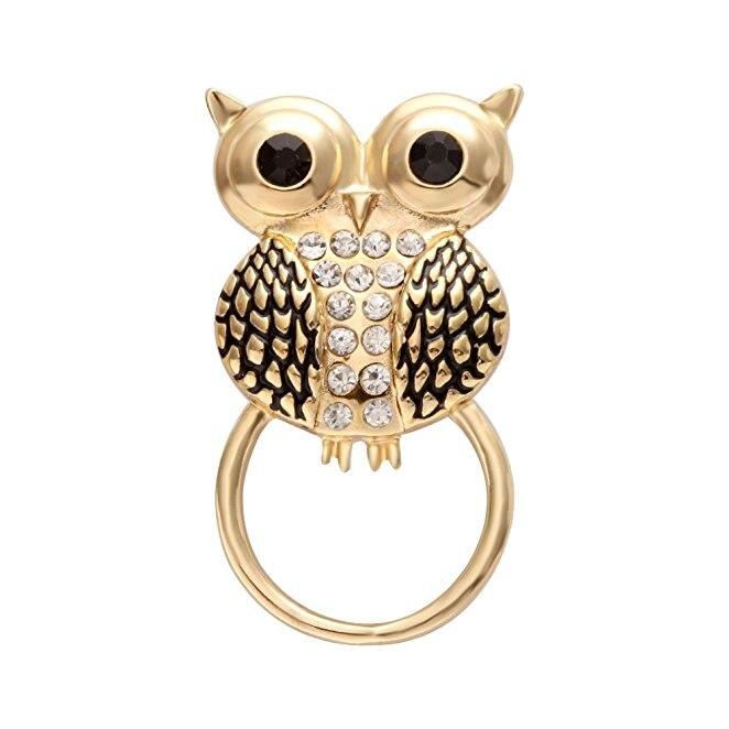 Novo estilo rhinstone cristal a bela moda simples coruja charme magnético óculos titular broche para o design feminino