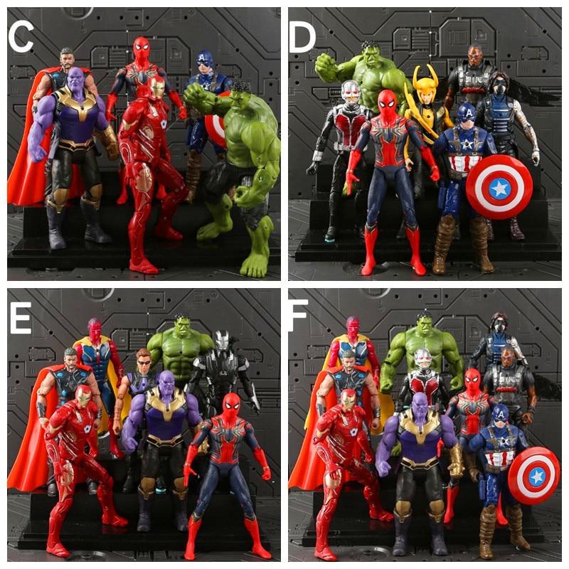 Gran oferta 18CM serie Marvel colección de figuras de acción conjuntos vengadores Infinity War Thanos Ironman Spiderman veneno modelo de vinilo Juguetes