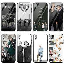 Kpop bigbang vidro temperado casos de telefone para o iphone x xr xs max caso capa traseira para o iphone 5 5S se 6 s 7 8 mais sacos