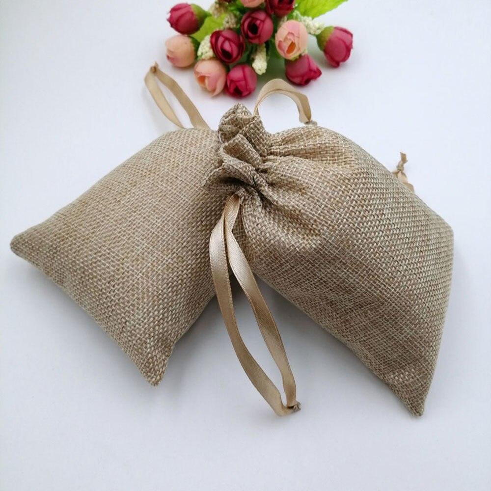 15x20cm 10pcs Ribbon Jute Bag Gift Bags For Jewelry Pouches Gift Bags Wedding Christmas Sack Bag Drawstring Woman Travel Storage
