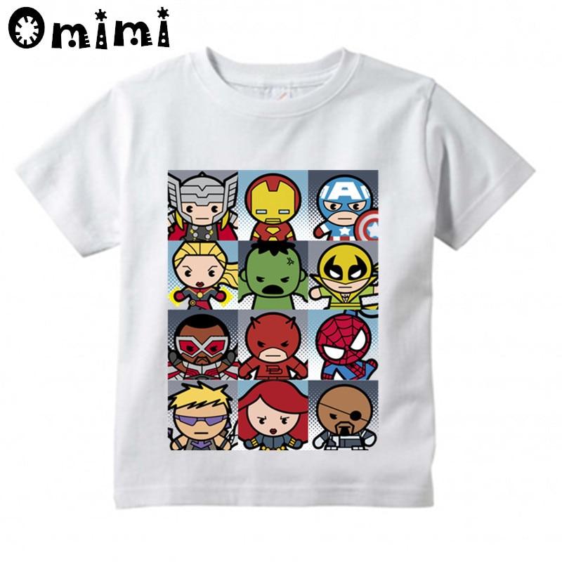 Boys/Girls Kawaii Superhero Grid Printed T Shirt Kids Short Sleeve Tops Childrens White T-Shirt