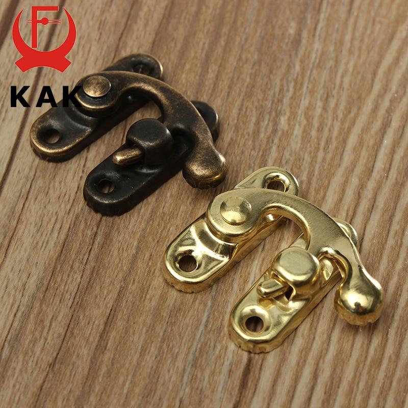 KAK Antique Metal Lock Mini Decorative Hasps Hook for Gift Wooden Jewelry Box Padlock with Screws ZA