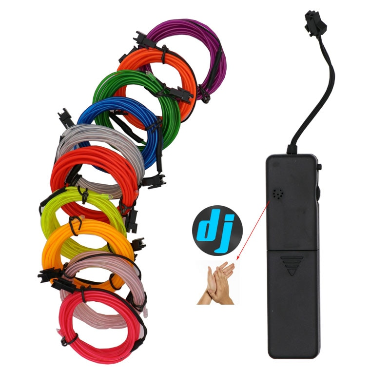 10 colores 1m 2m 3m 4m 5m luz de neón EL Wire 3 modos tira de luz LED con controlador para la iluminación de decoración de bicicleta de fiesta de baile del coche