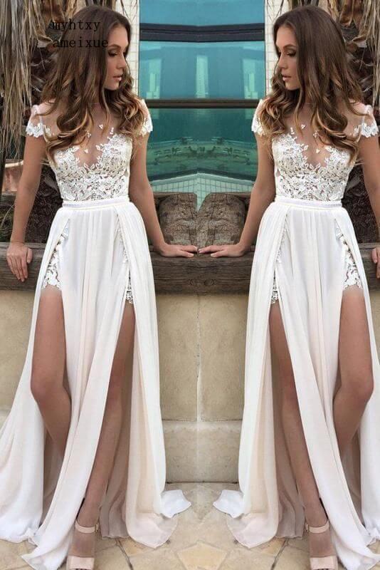 فستان زفاف رخيص من الدانتيل الأبيض برقبة دائرية بدون أكمام ، ملابس نسائية مزينة بالزينة ، جودة عالية ، 2020