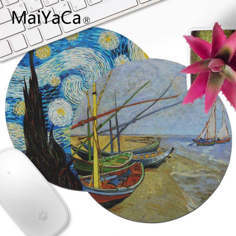 Maiyaca vincent van gogh pintura de alta velocidade nova lockedge mousepad 20x20cm 22x22cm diâmetro redondo mouse pad