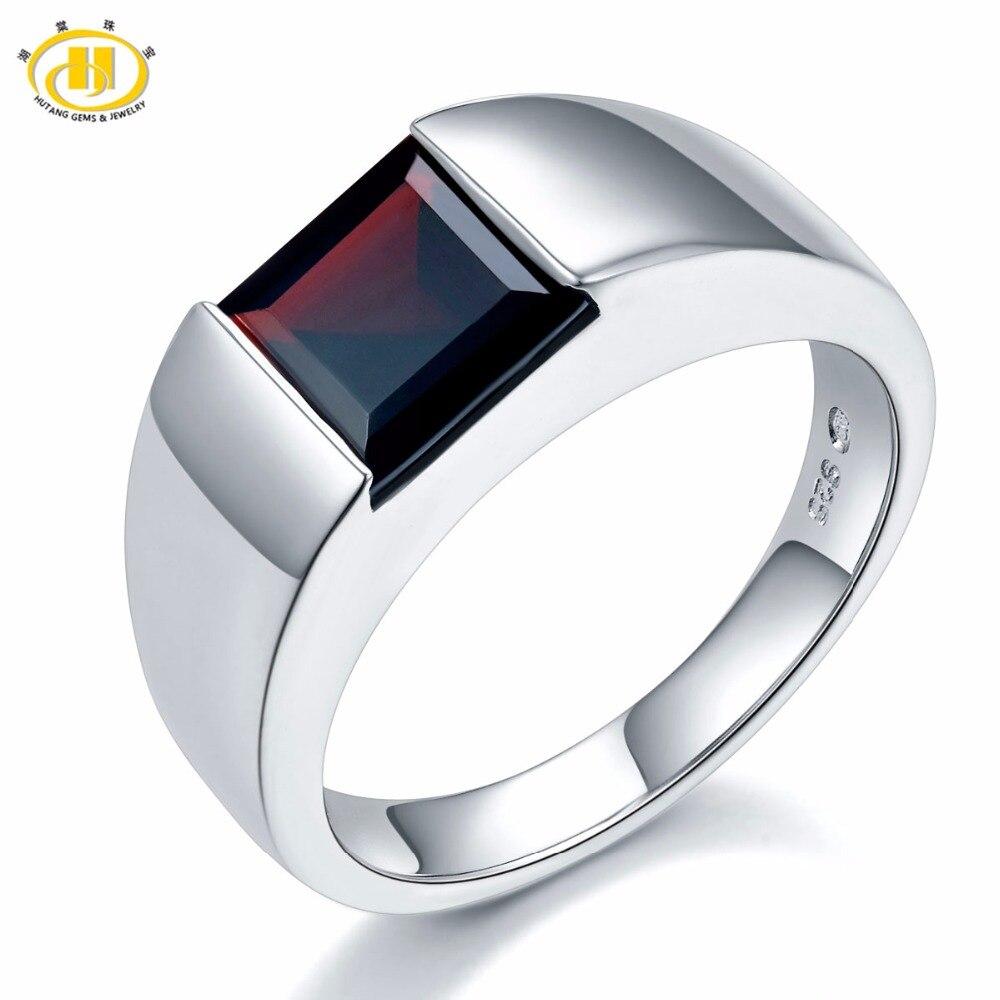 Hutang natural mistério preto garnet feminino anel masculino 925 prata esterlina anéis de pedra preciosa jóias finas design clássico para o presente