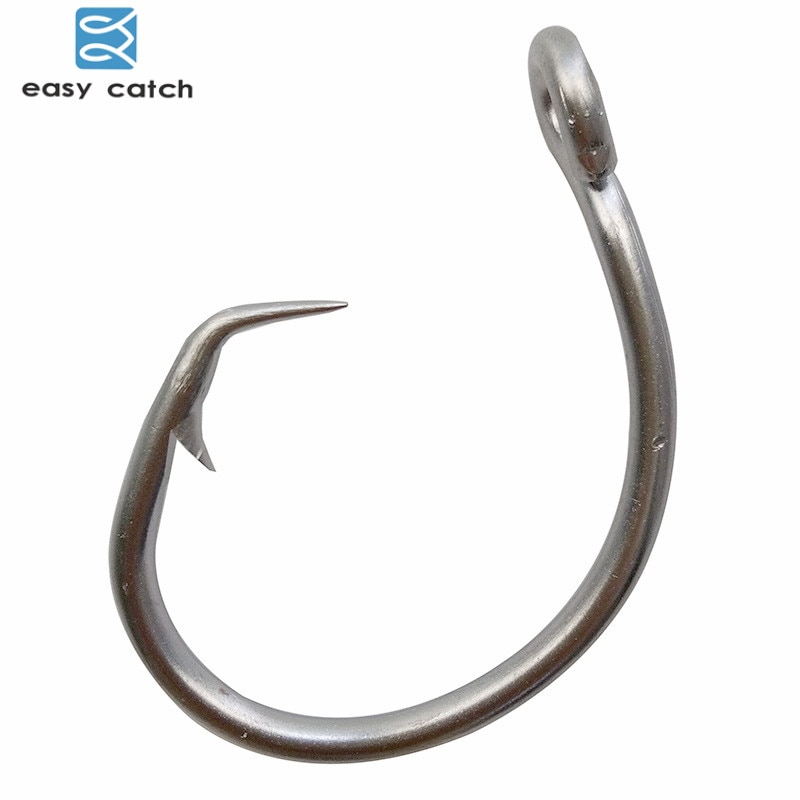 Easy Catch 50pcs 39960 Stainless Steel White Offset Tuna Circle Bait Fishing Hook Size 8/0 9/0 10/0 11/0 12/0 13/0 14/0 15/0