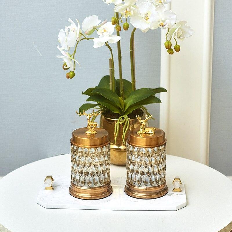 Tanques de almacenamiento de estilo americano de latas de caramelos de cristal transparente de estilo europeo. Recipientes decorativos Florales Creativos