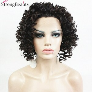 Strong Beauty Short Lace Front Wig Synthetic Hair Women Curly Dark Brown Wigs