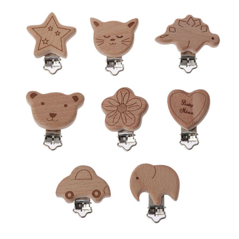 8 estilo encantador chupete de madera cadena Natural haya madera bebé chupete Clips DIY Dummy Clips accesorio