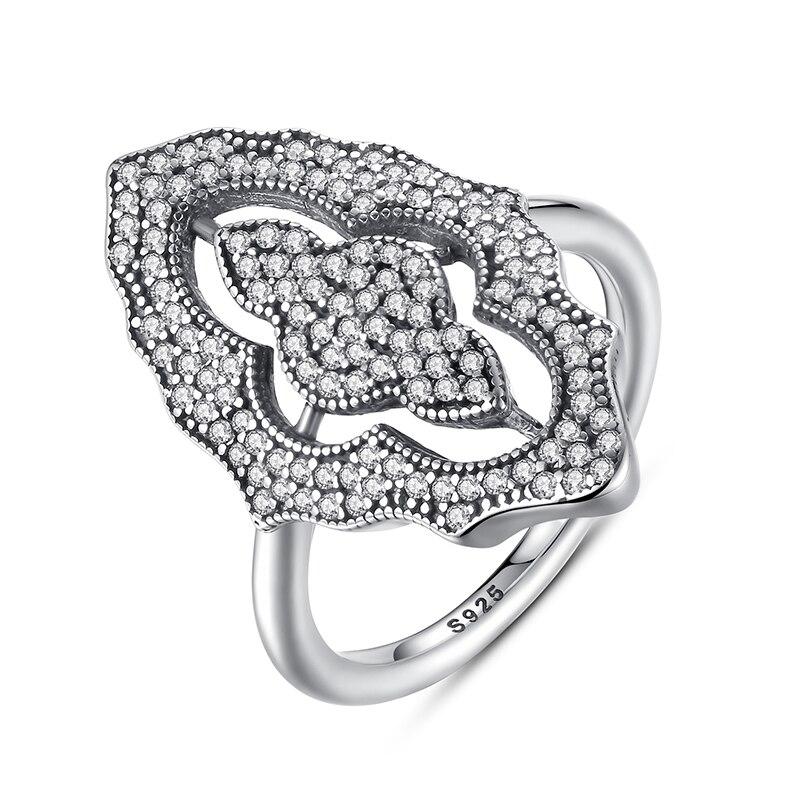 Anillo deslumbrante de lujo de ZMZY de encaje brillante de 100% Plata de Ley 925 genuino pavimentar circonia transparente completa para joyería de boda de las mujeres
