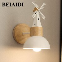 BEIAIDI Creative Windwill Led Wall Light Nordic Living Room Bedroom Bedside Wall Lamp Iron Aisle Corridor Balcony Wall Sconces