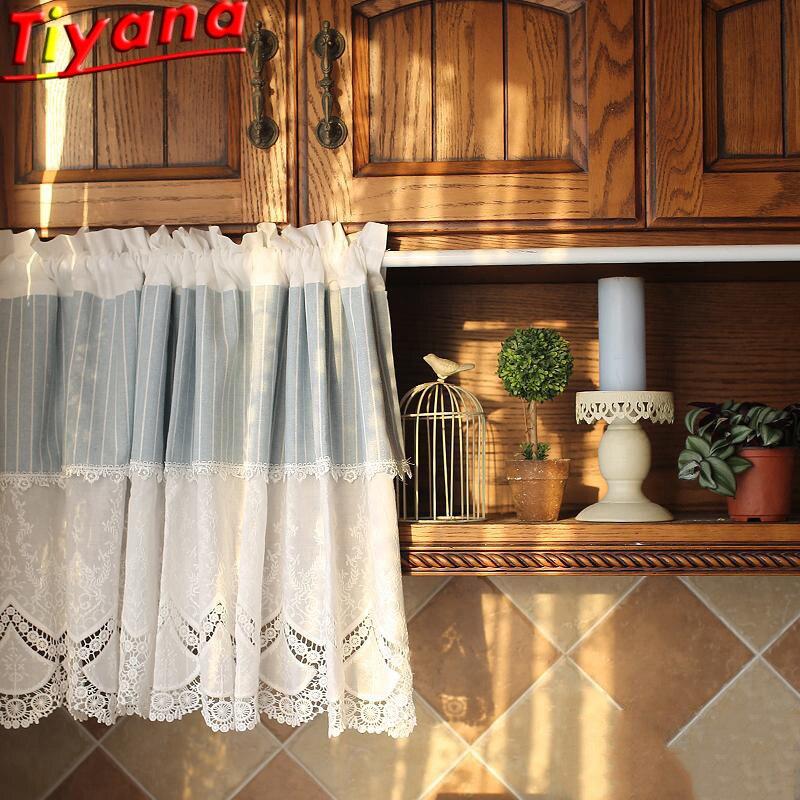 Cortinas cortas rayadas azules para cocina de encaje blanco corto Curtais para estantería de alta calidad diseño de doble capa 1 piezas QT039 #30