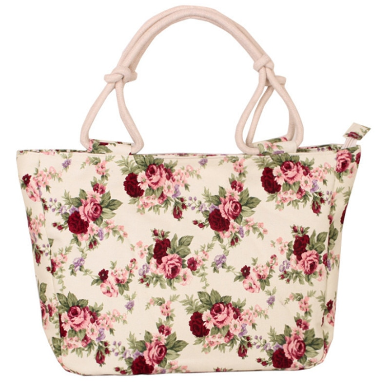 Women Handbag Tote Ladies Hand Bags Casual Torebki Damskie Flower Printing Canvas Graffiti Shoulder Bag Beach Borse Da Donna
