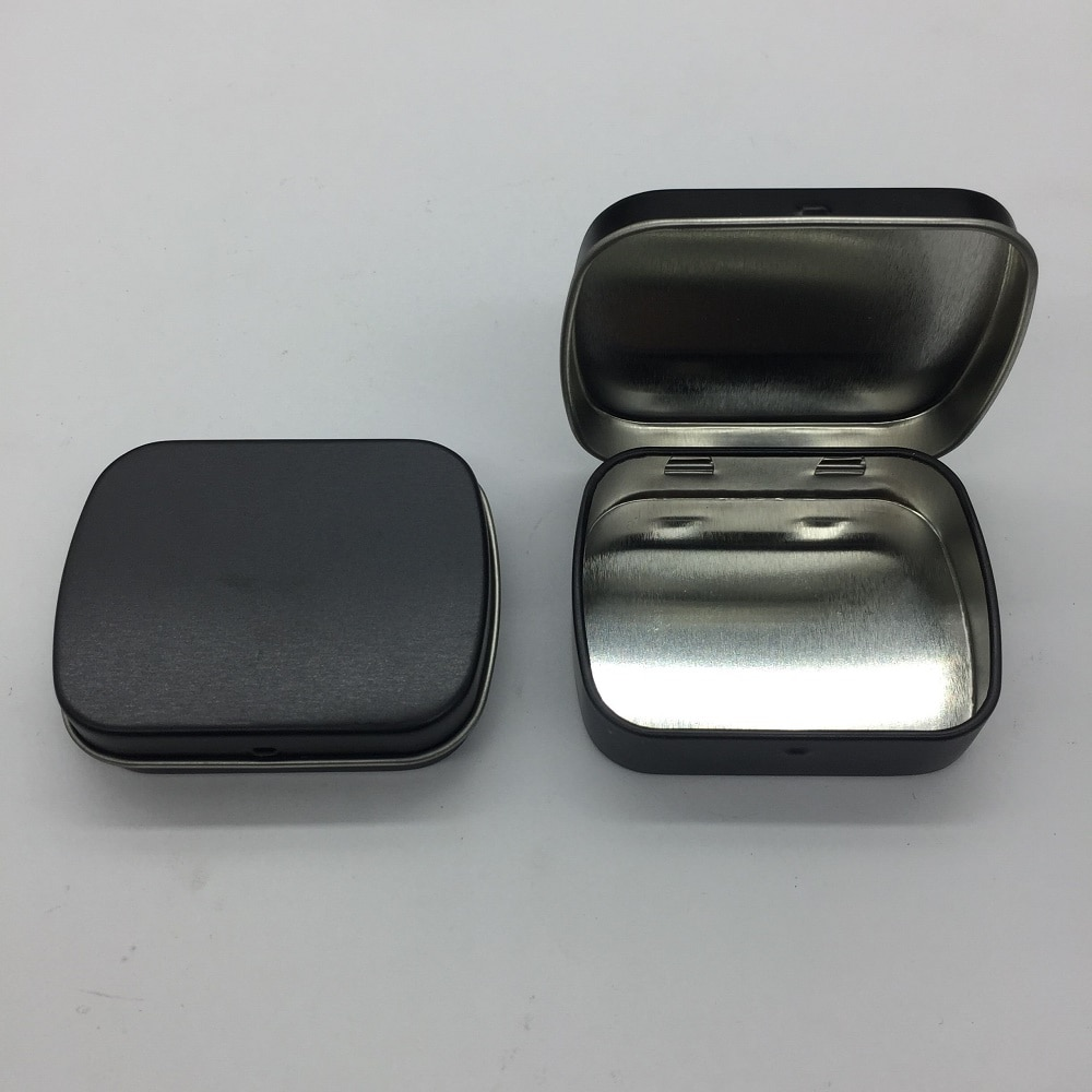 Новое поступление черная мята жестяная коробка маленькая Подарочная коробка Ювелирная коробочка для жевательных резинок с петлей 100 шт./ло...